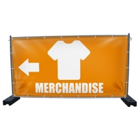 340 x 173 cm | Merchandise Bauzaunbanner, Icon orange weiß, PVC, Mesh V1