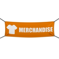 200 x 75 cm | Merchandise Werbebanner, Icon orange weiß, PVC, V1